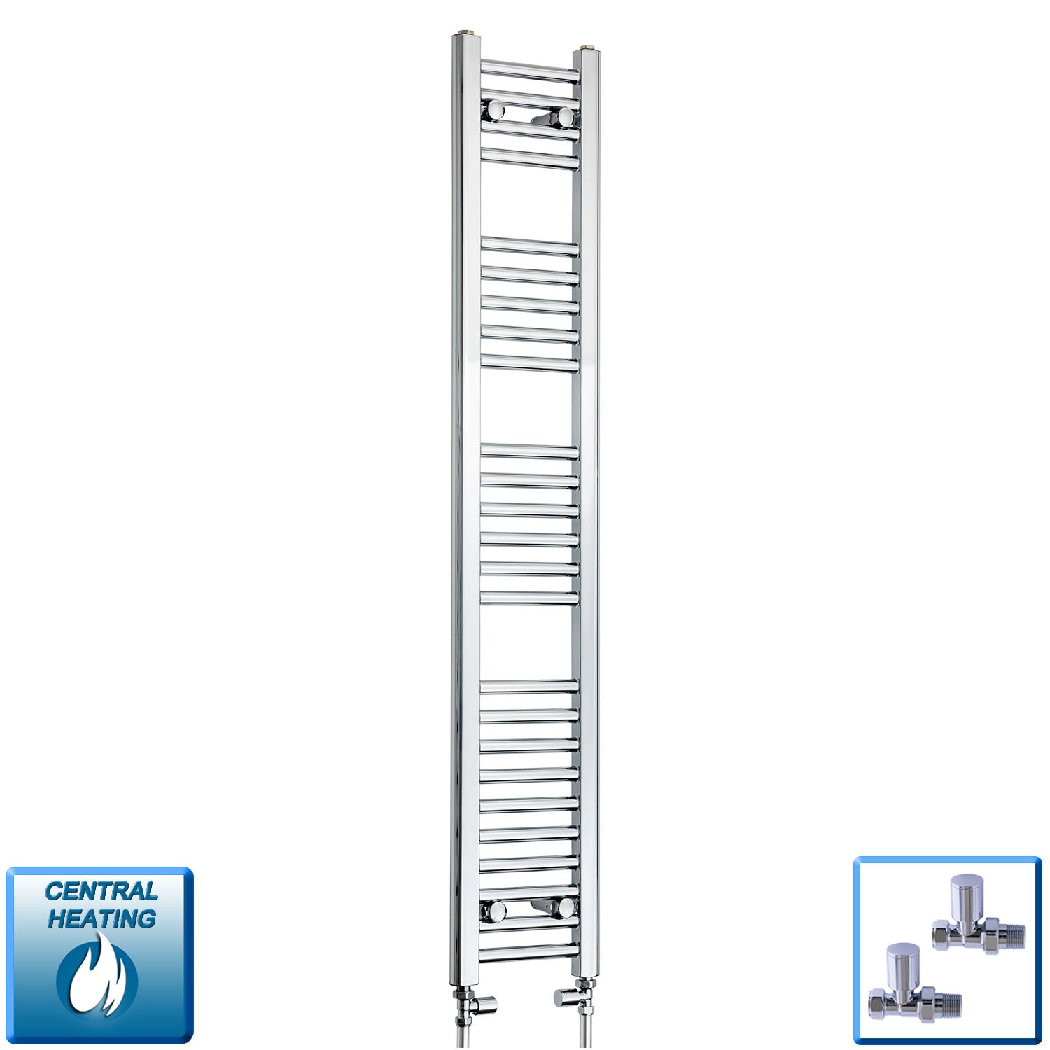 250mm Wide 1400mm High Chrome Towel Rail Radiator With Straight Valve