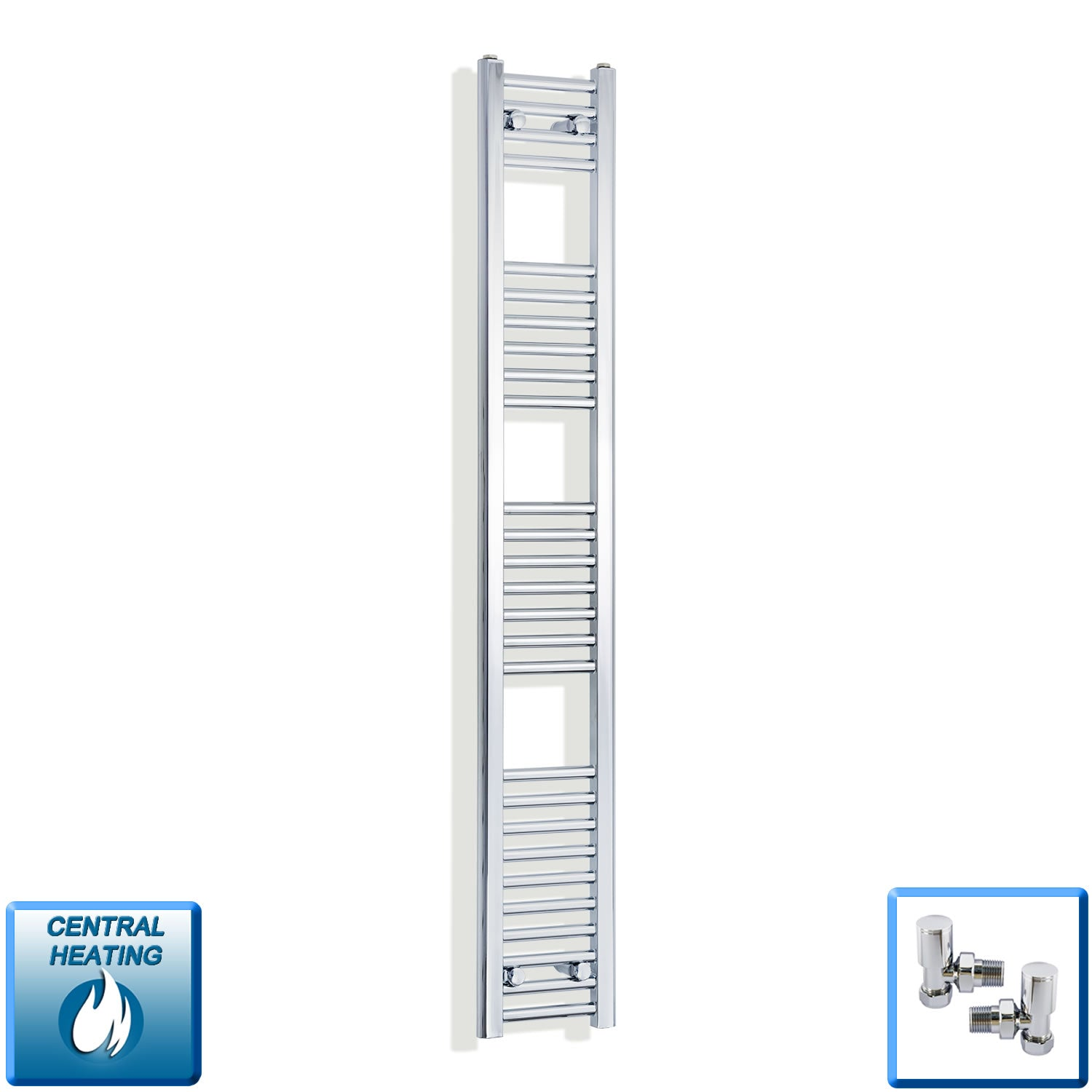 200mm Wide 1600mm High Chrome Towel Rail Radiator With Angled Valve
