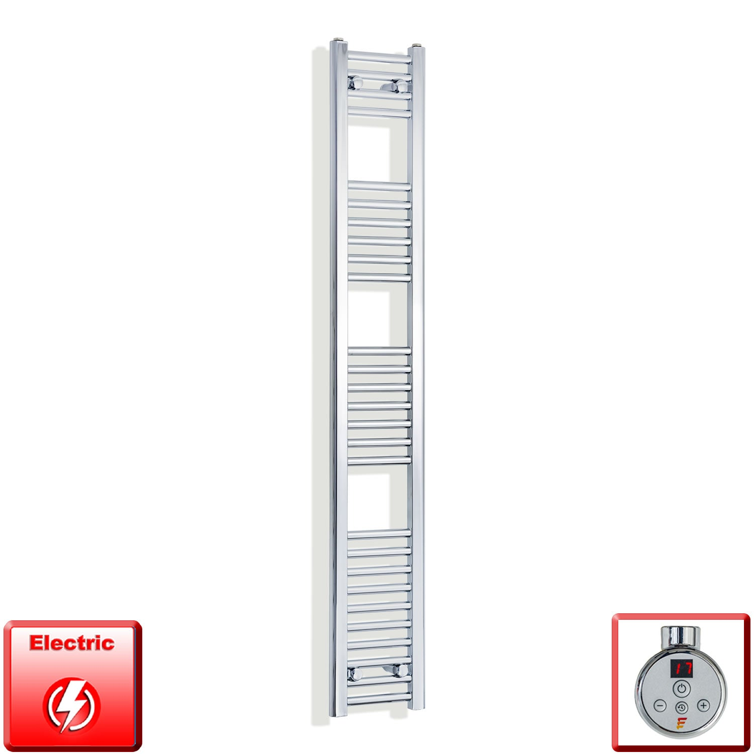 250mm Wide 1600mm High Pre-Filled Chrome Electric Towel Rail Radiator With Thermostatic DIGI Element