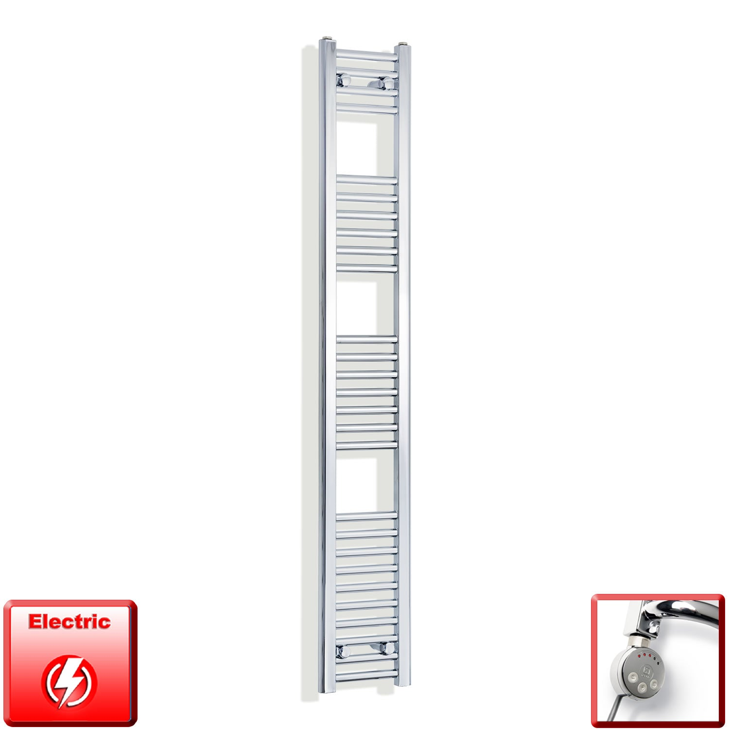 250mm Wide 1600mm High Pre-Filled Chrome Electric Towel Rail Radiator With Thermostatic MEG Element