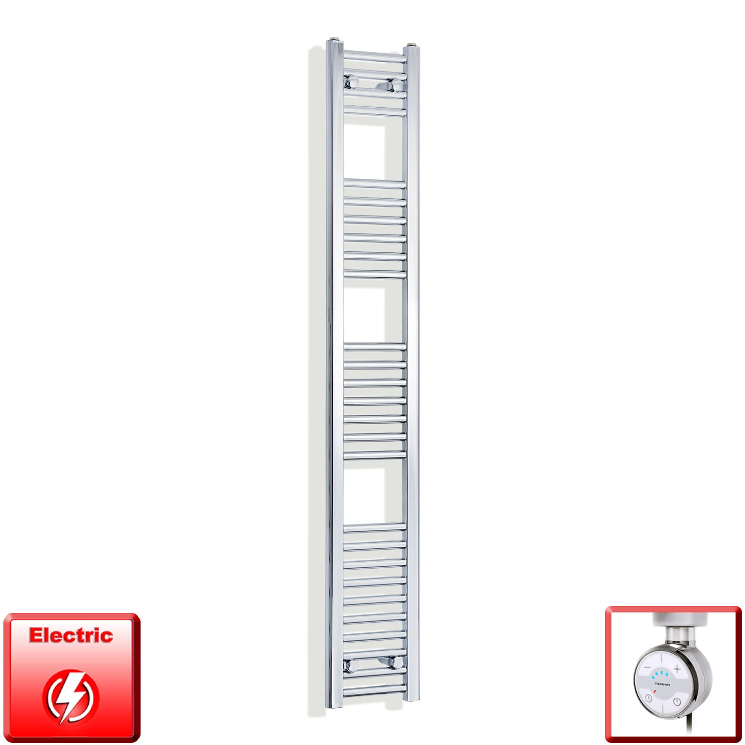 250mm Wide 1600mm High Pre-Filled Chrome Electric Towel Rail Radiator With Thermostatic MOA Element