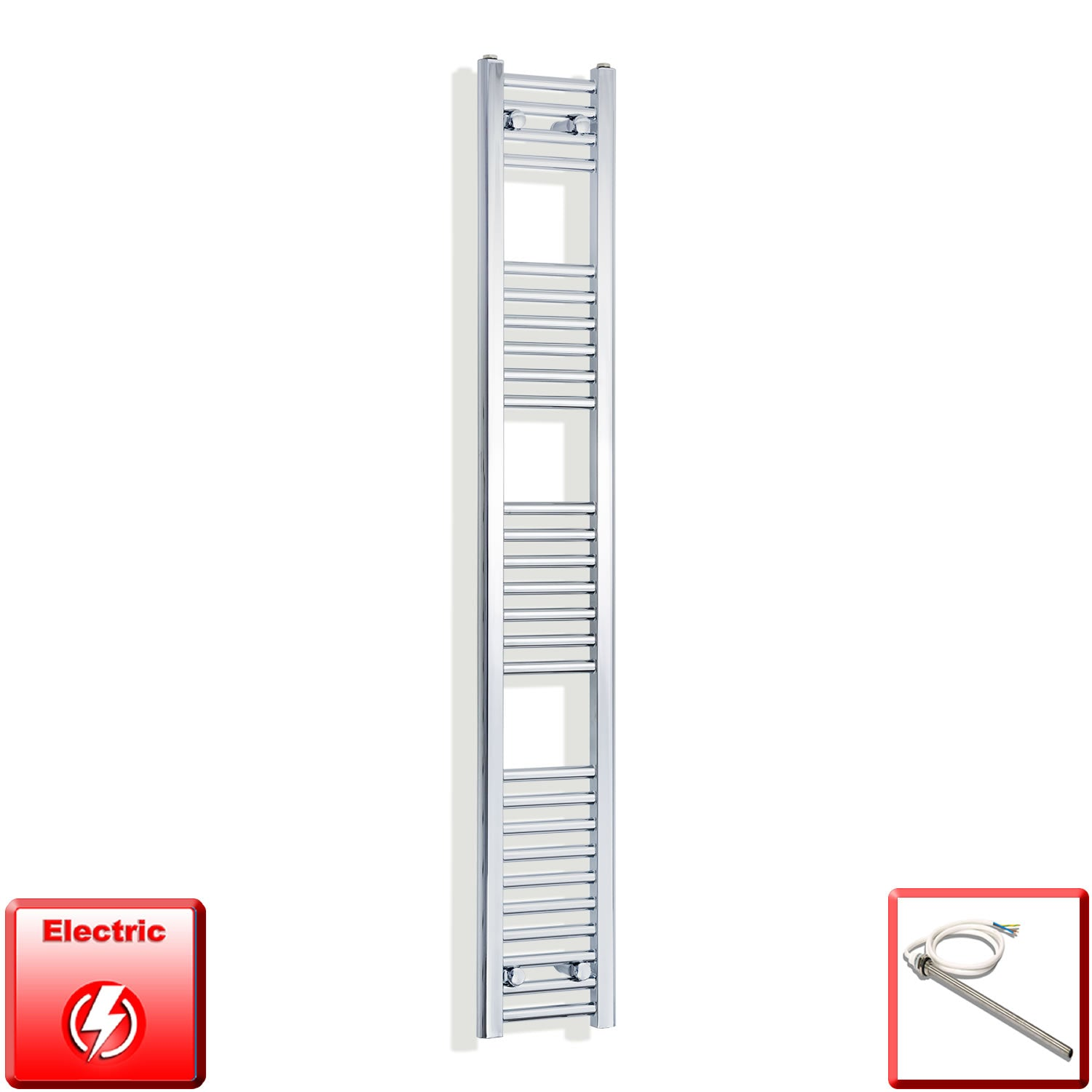 250mm Wide 1600mm High Pre-Filled Chrome Electric Towel Rail Radiator With Single Heat Element