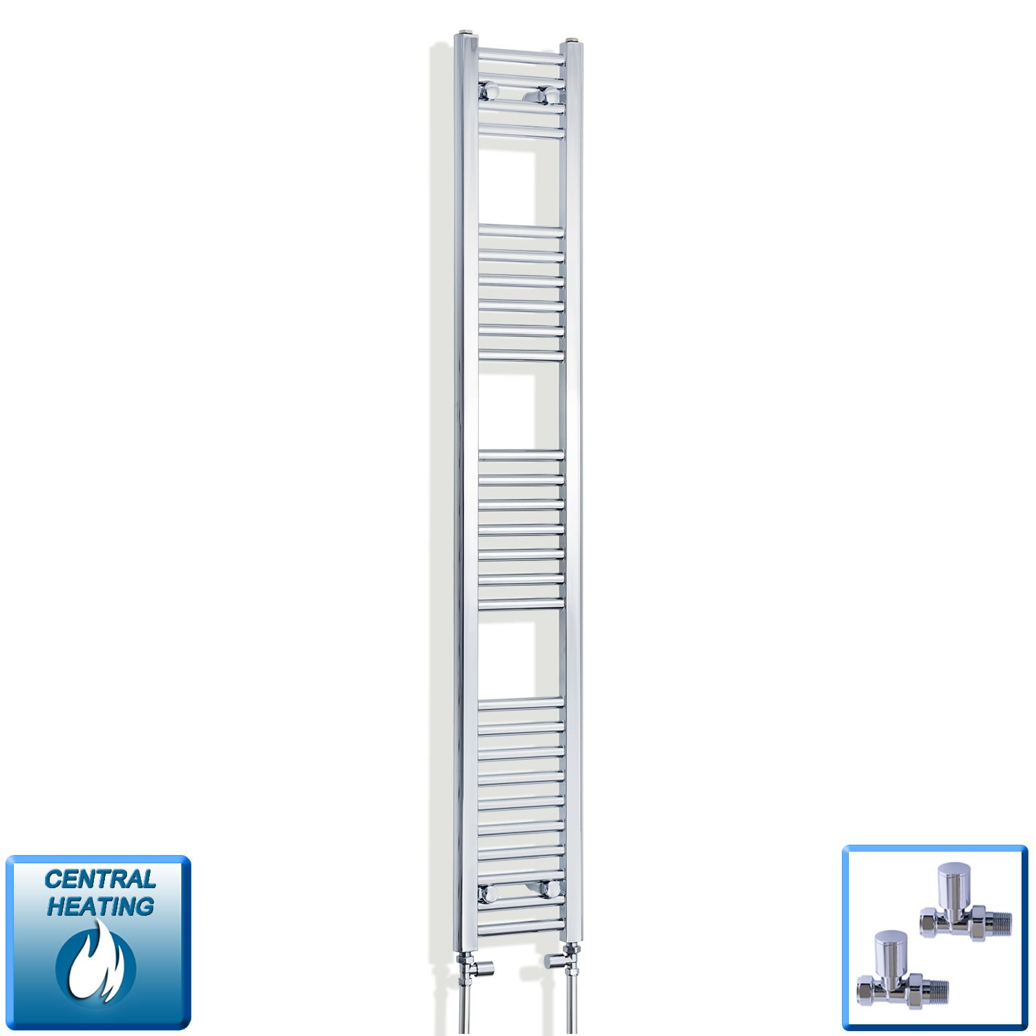 200mm Wide 1600mm High Chrome Towel Rail Radiator With Straight Valve