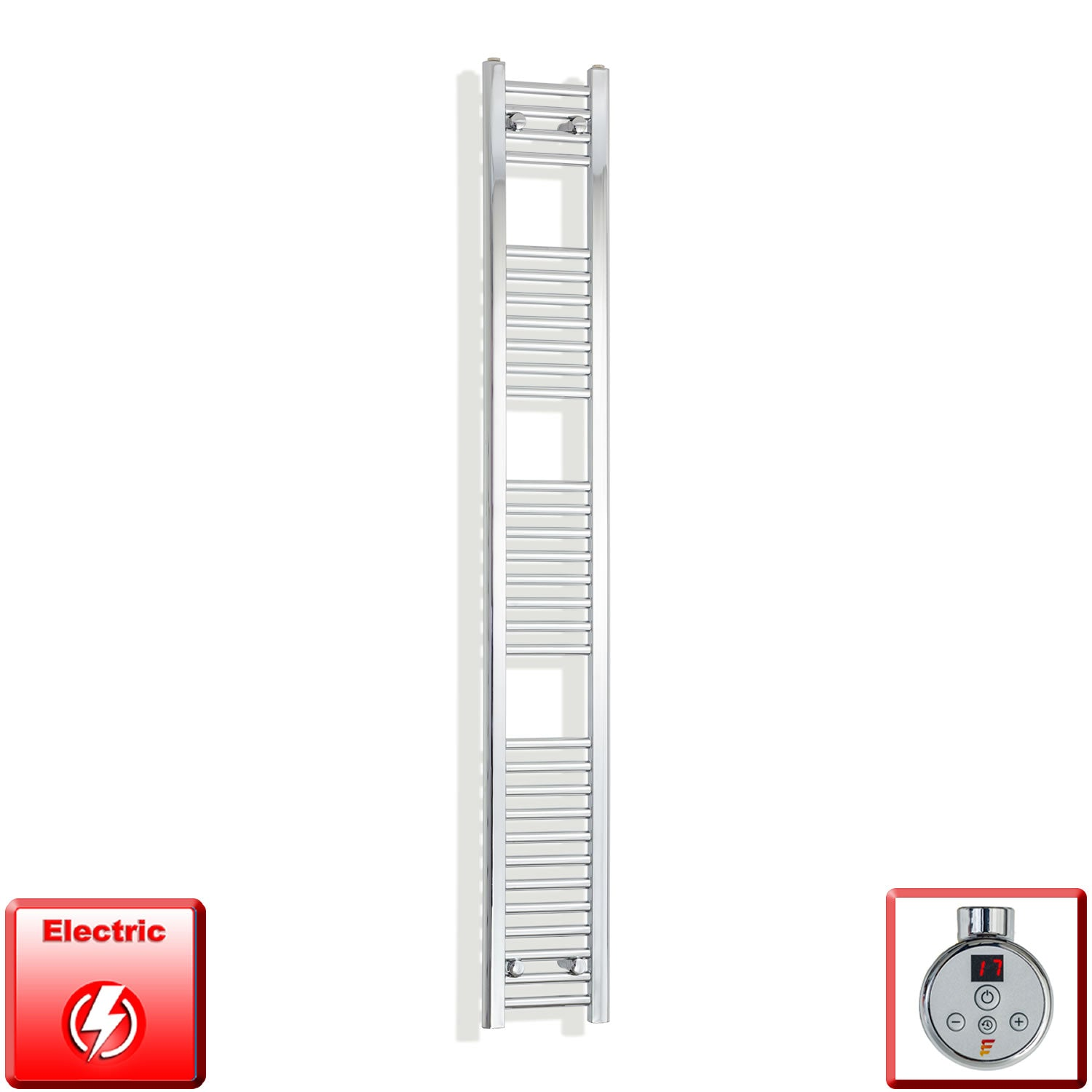 250mm Wide 1800mm High Pre-Filled Chrome Electric Towel Rail Radiator With Thermostatic DIGI Element