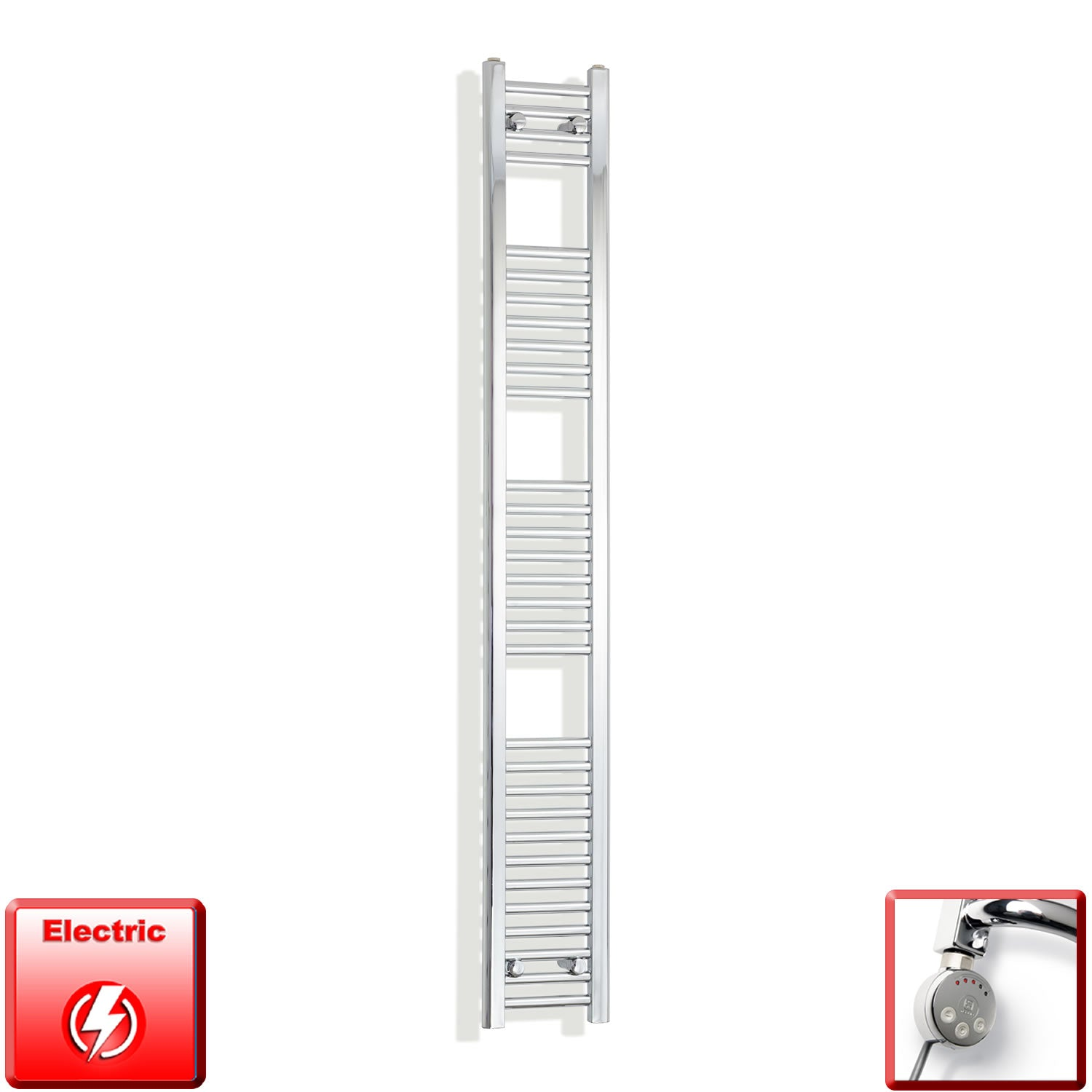 250mm Wide 1800mm High Pre-Filled Chrome Electric Towel Rail Radiator With Thermostatic MEG Element