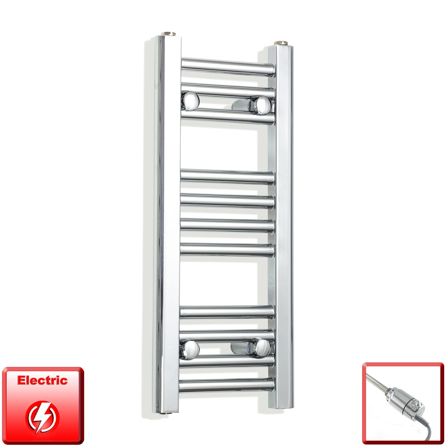 250mm Wide 600mm High Pre-Filled Chrome Electric Towel Rail Radiator With Thermostatic GT Element