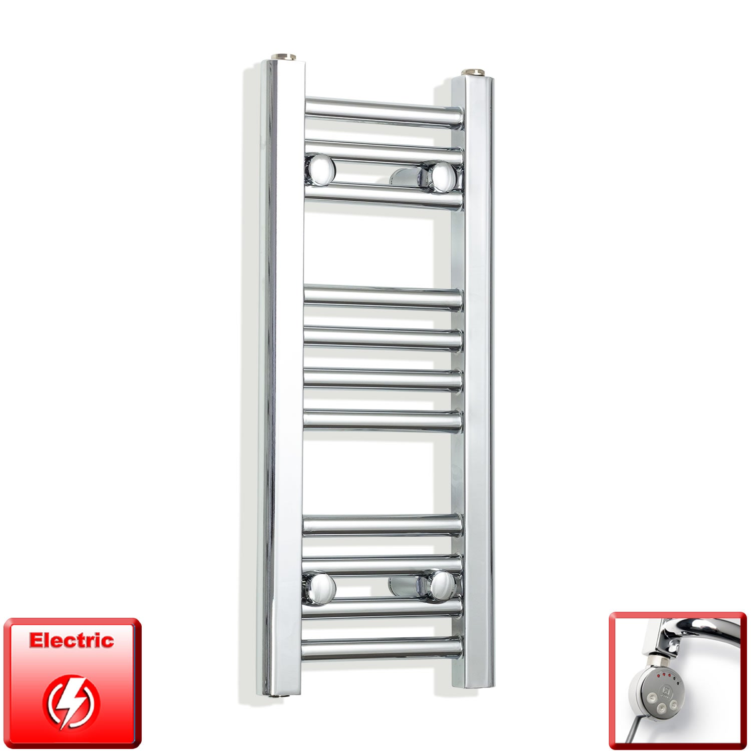 250mm Wide 600mm High Pre-Filled Chrome Electric Towel Rail Radiator With Thermostatic MEG Element