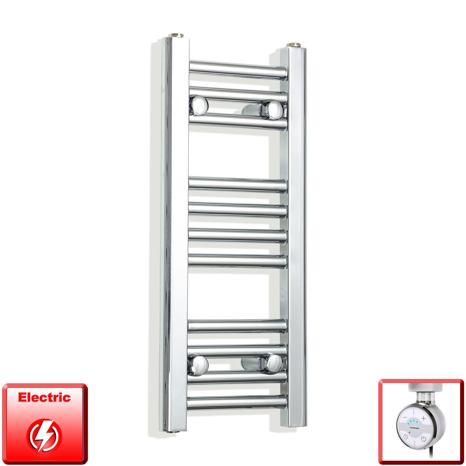 250mm Wide 600mm High Pre-Filled Chrome Electric Towel Rail Radiator With Thermostatic MOA Element