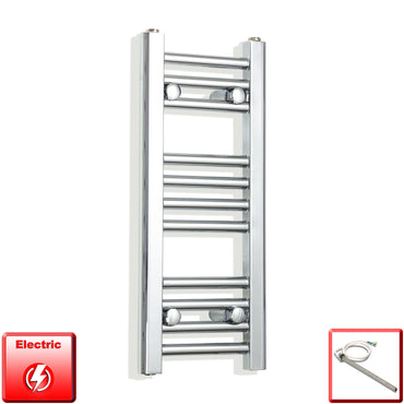 200mm Wide 600mm High Pre-Filled Chrome Electric Towel Rail Radiator With Single Heat Element