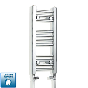 200mm Wide 600mm High Chrome Towel Rail Radiator With Straight Valve