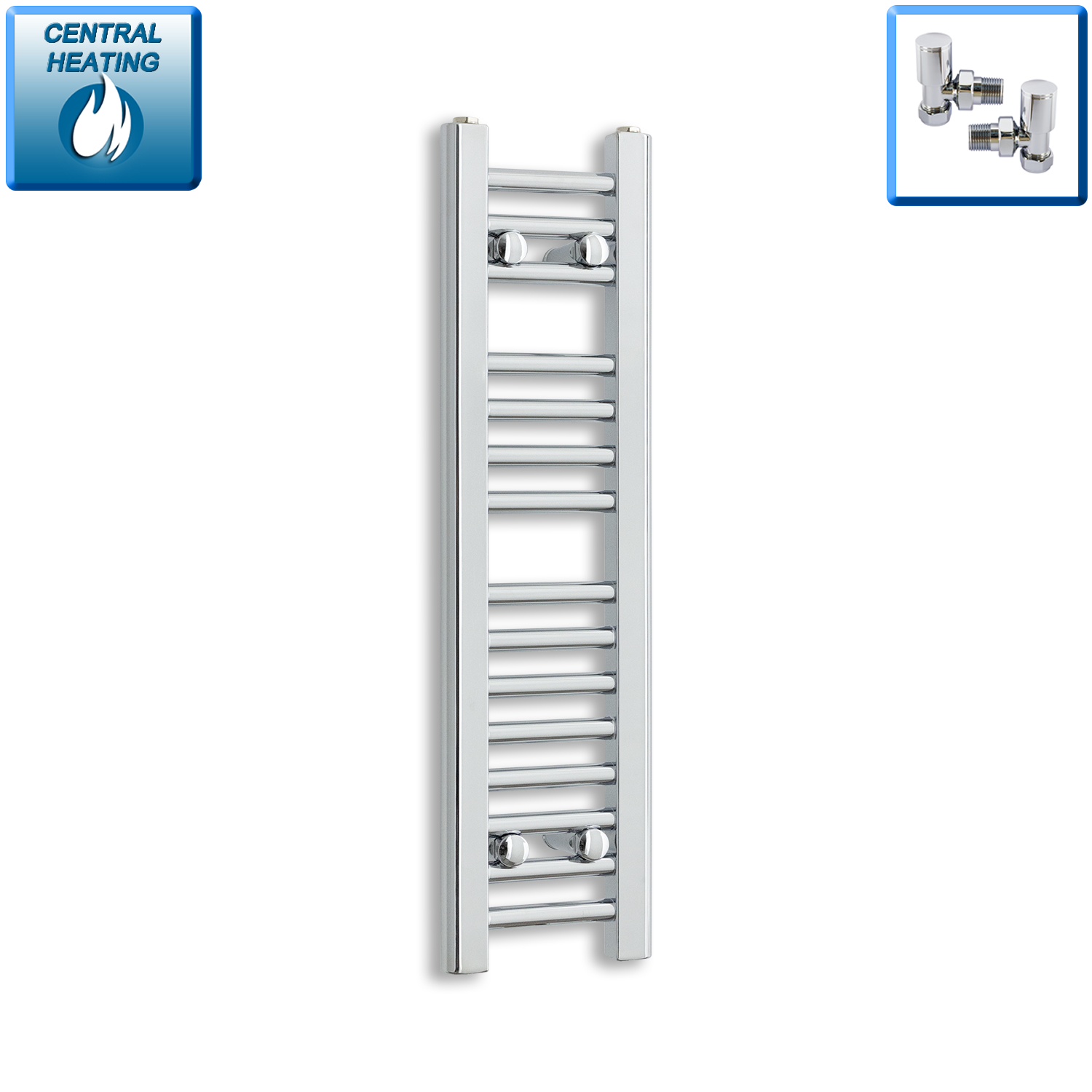 250mm Wide 800mm High Chrome Towel Rail Radiator With Angled Valve