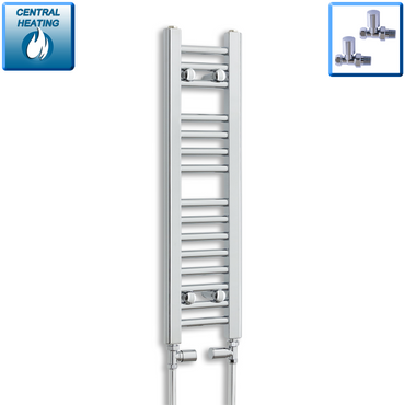 200mm Wide 800mm High Chrome Towel Rail Radiator With Straight Valve