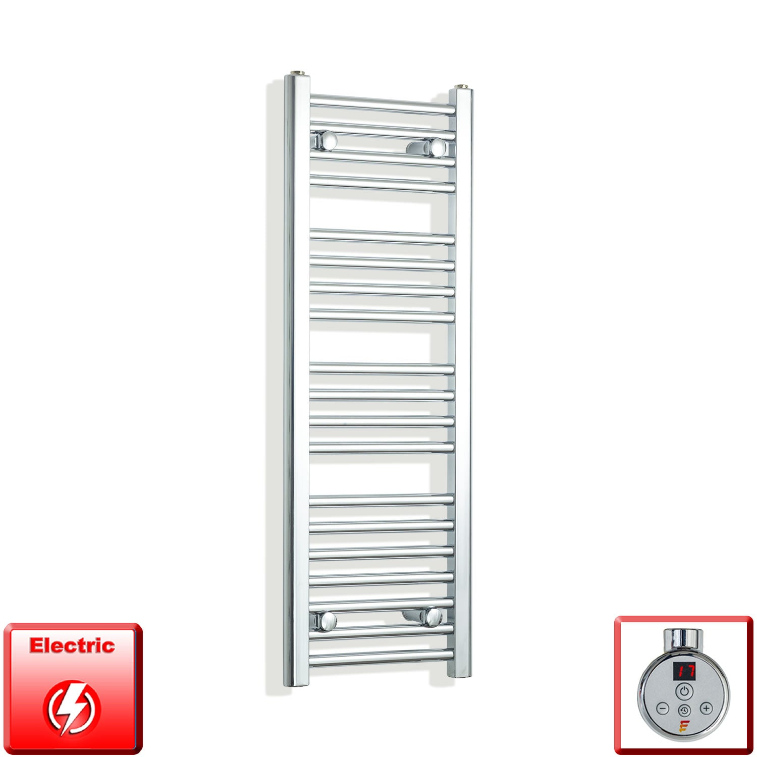 350mm Wide 1000mm High Pre-Filled Chrome Electric Towel Rail Radiator With Thermostatic DIGI Element