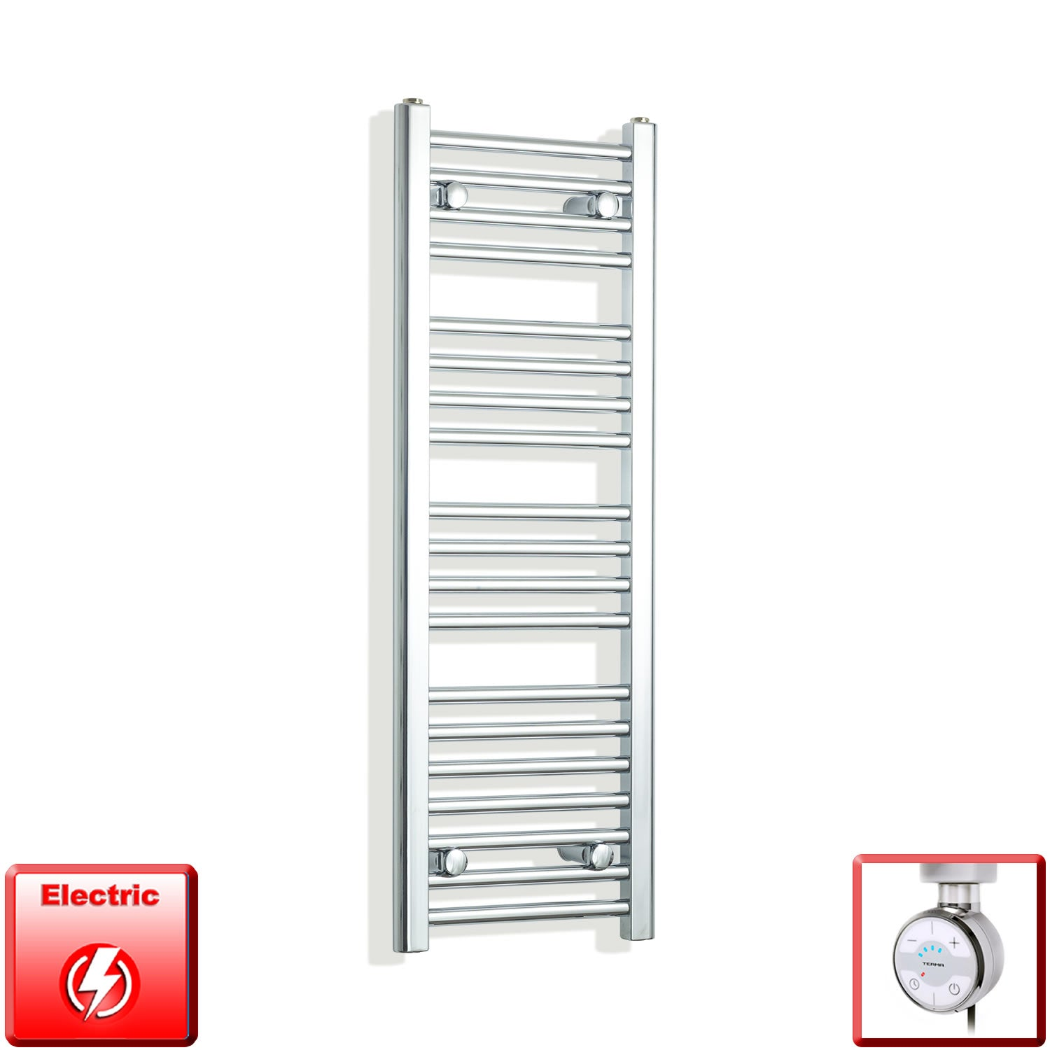 350mm Wide 1000mm High Pre-Filled Chrome Electric Towel Rail Radiator With Thermostatic MEG Element