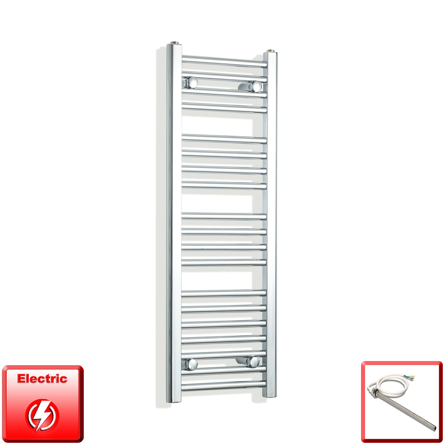 350mm Wide 1000mm High Pre-Filled Chrome Electric Towel Rail Radiator With Single Heat Element