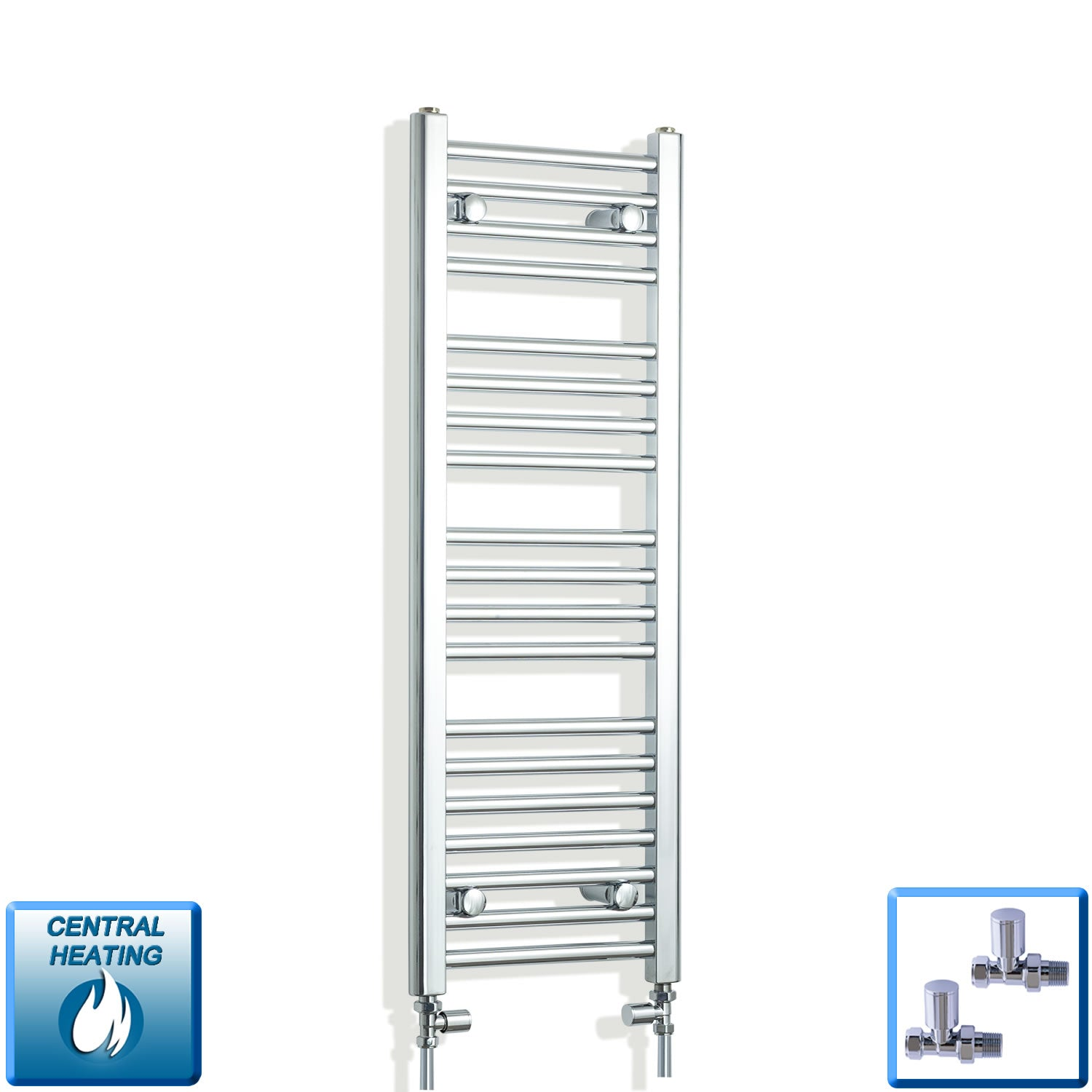 350mm Wide 1000mm High Chrome Towel Rail Radiator With Straight Valve