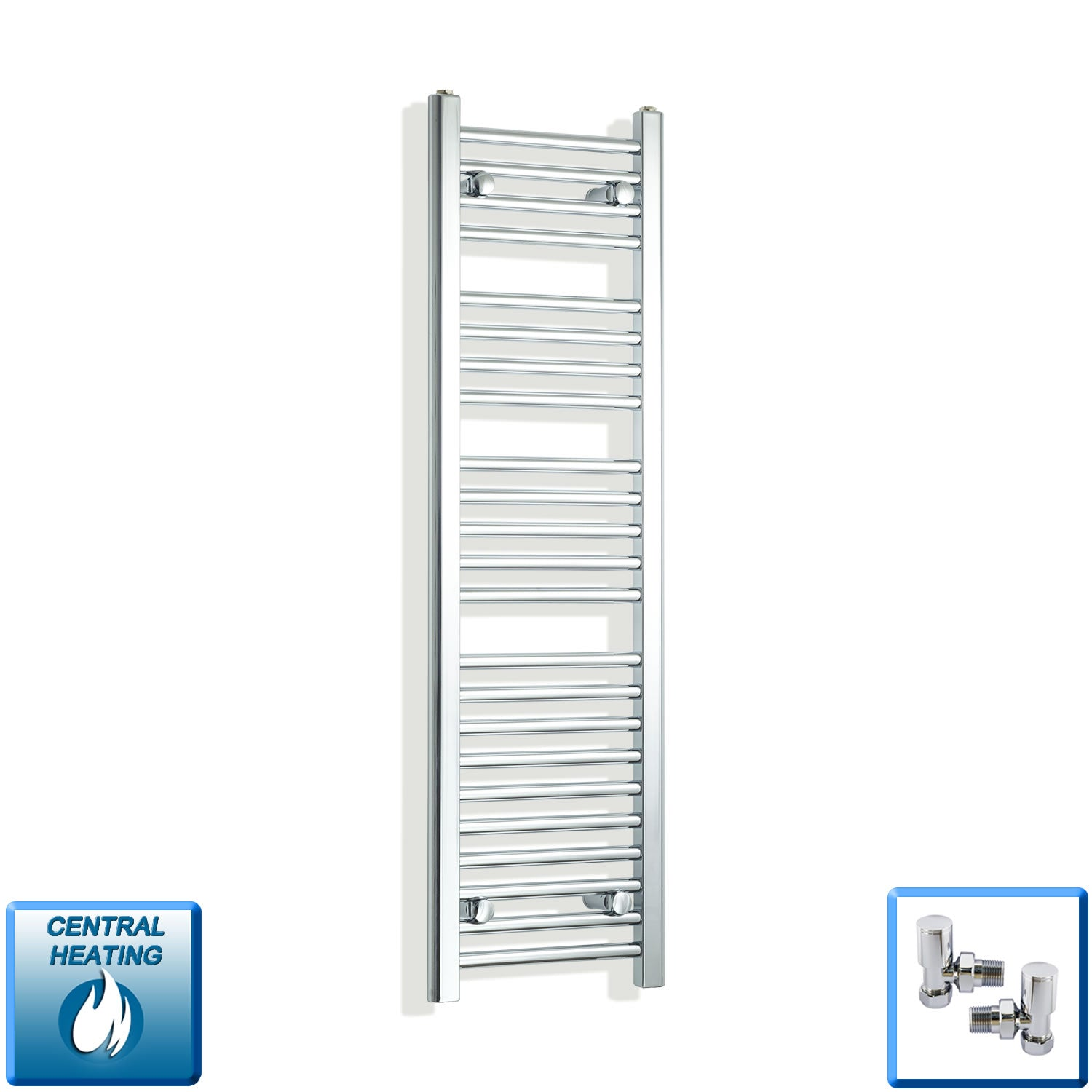 350mm Wide 1200mm High Chrome Towel Rail Radiator With Angled Valve