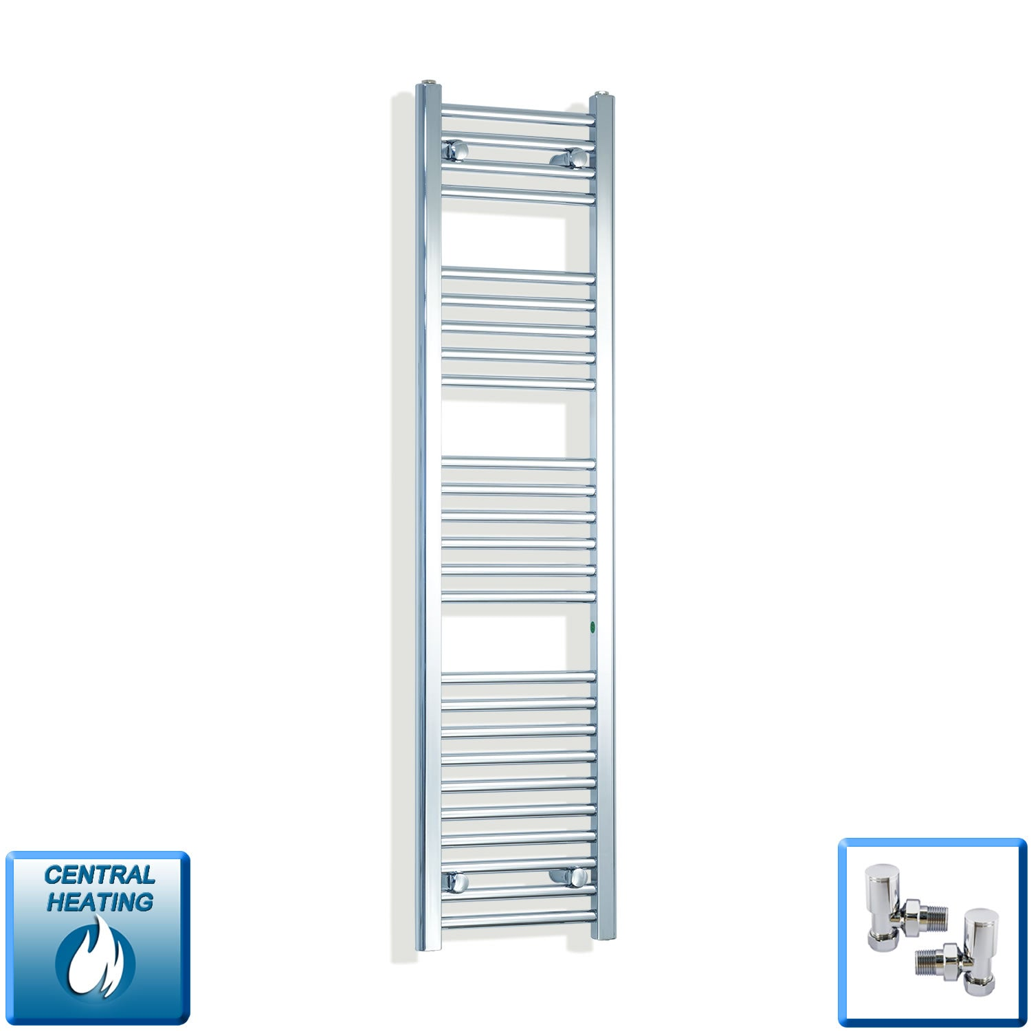 350mm Wide 1400mm High Chrome Towel Rail Radiator With Angled Valve