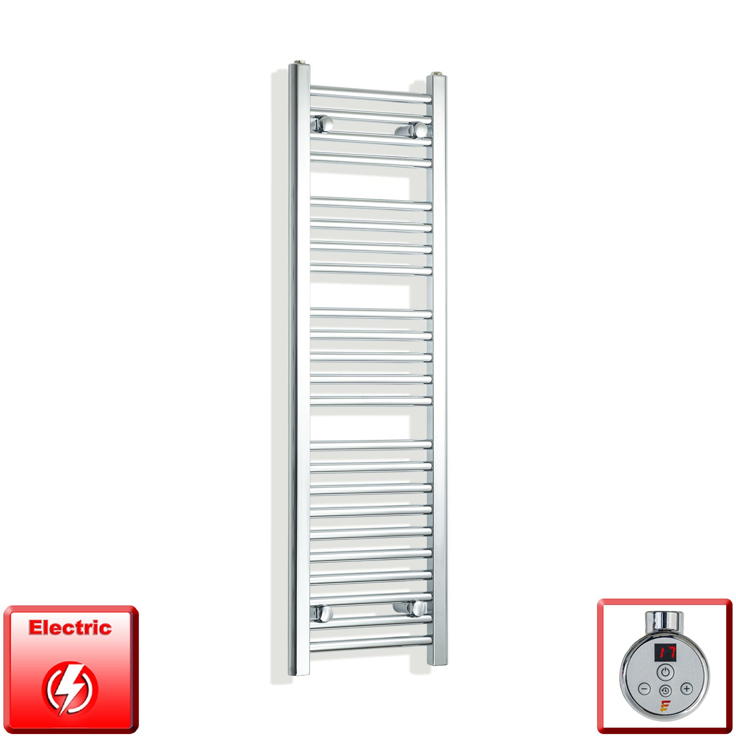 350mm Wide 1200mm High Pre-Filled Chrome Electric Towel Rail Radiator With Thermostatic DIGI Element