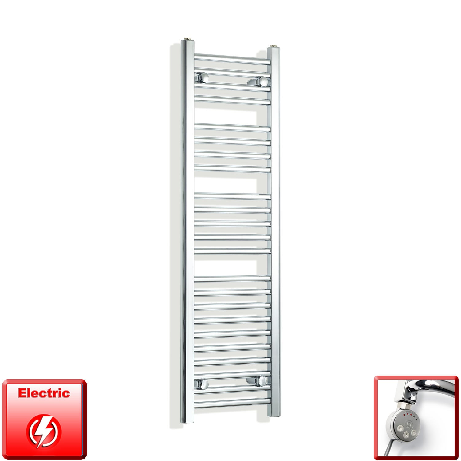 350mm Wide 1200mm High Pre-Filled Chrome Electric Towel Rail Radiator With Thermostatic MEG Element
