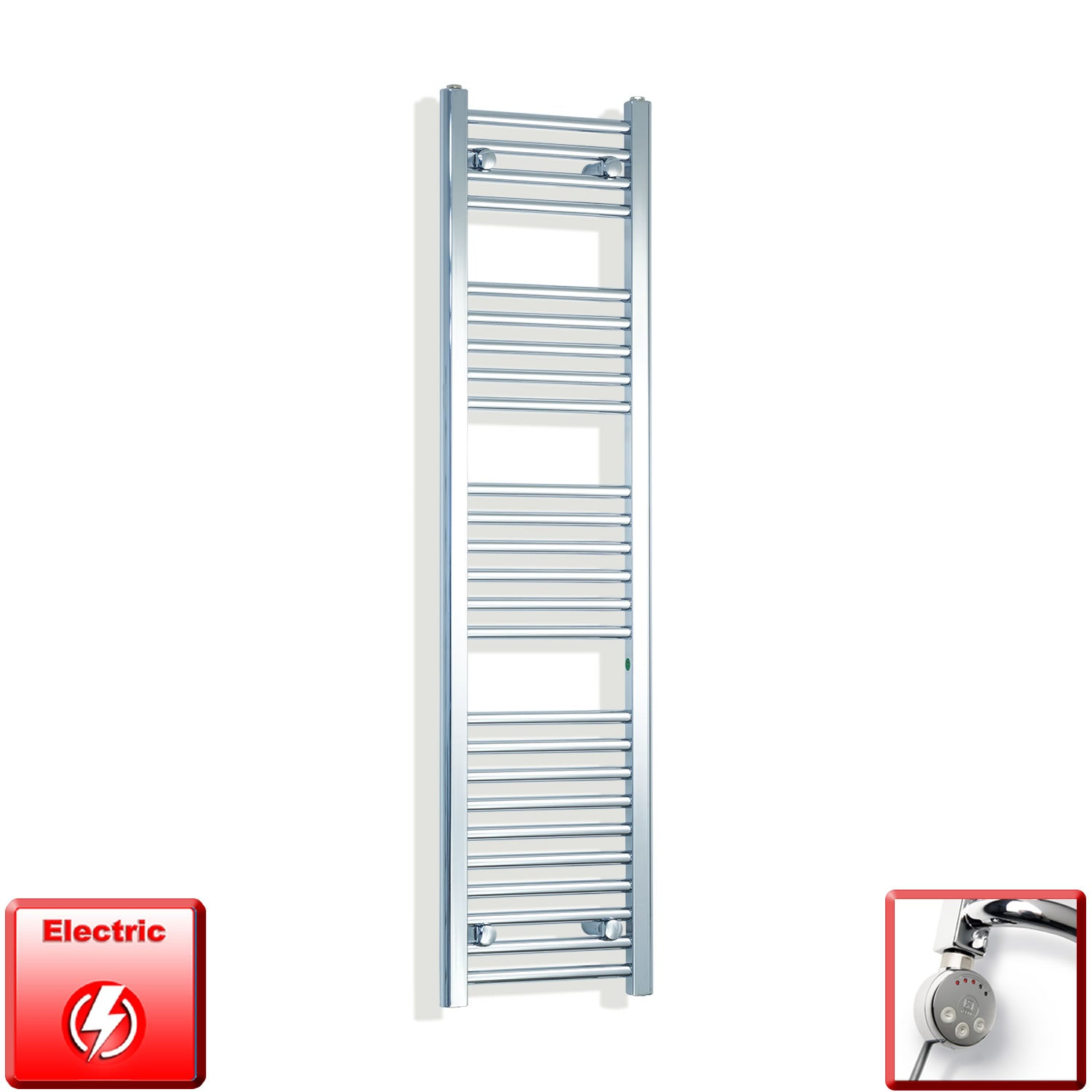 1400mm High 300mm Wide Pre-Filled Electric Heated Towel Rail Radiator Straight Chrome