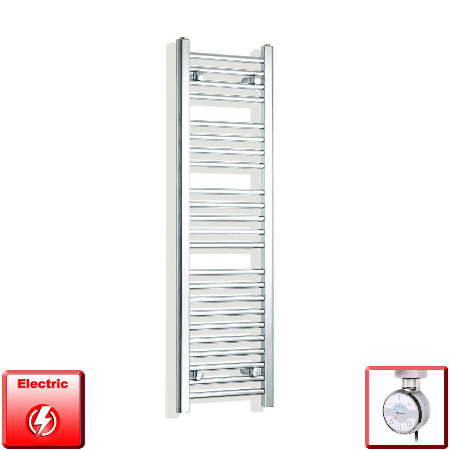 350mm Wide 1200mm High Pre-Filled Chrome Electric Towel Rail Radiator With Thermostatic MOA Element