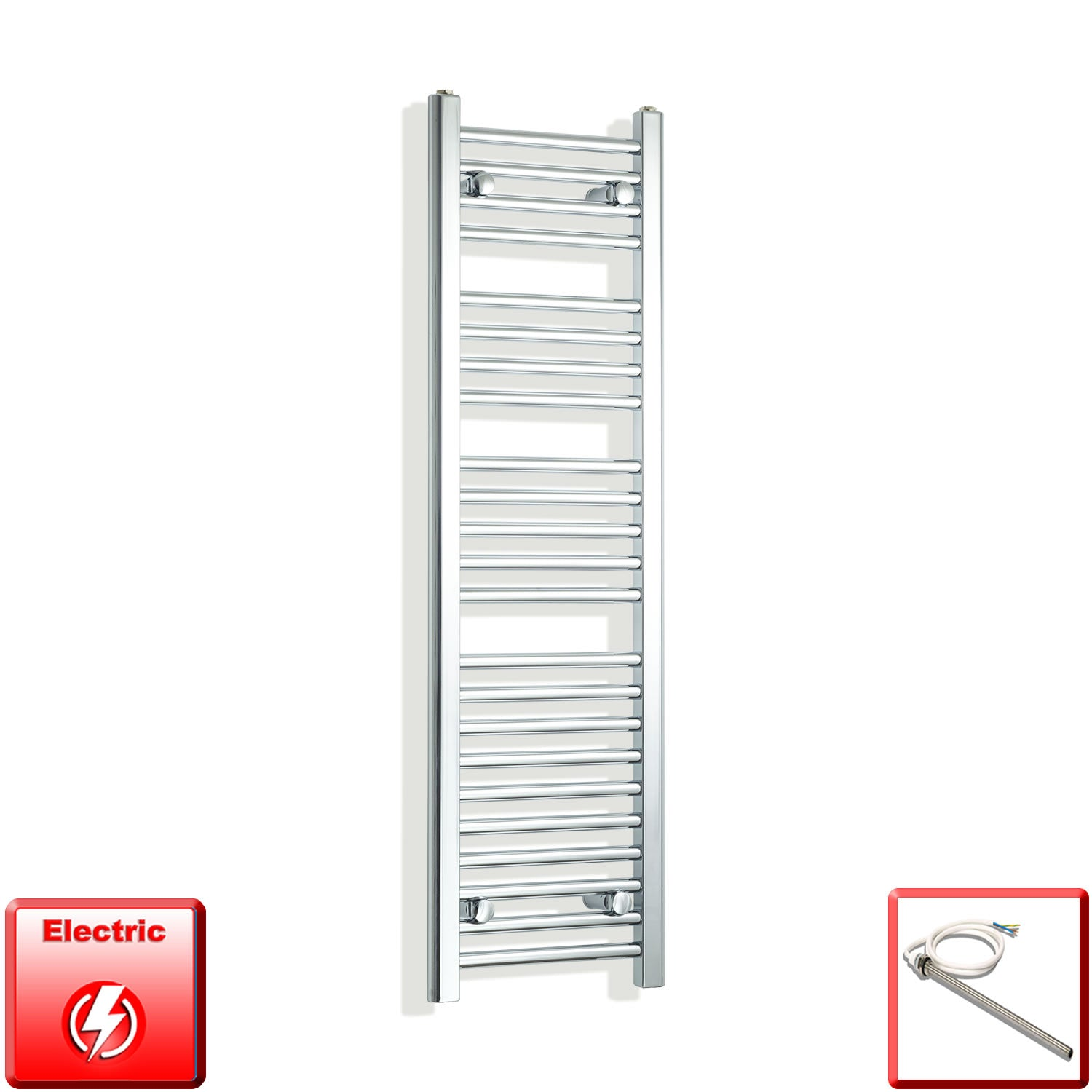 350mm Wide 1200mm High Pre-Filled Chrome Electric Towel Rail Radiator With Single Heat Element
