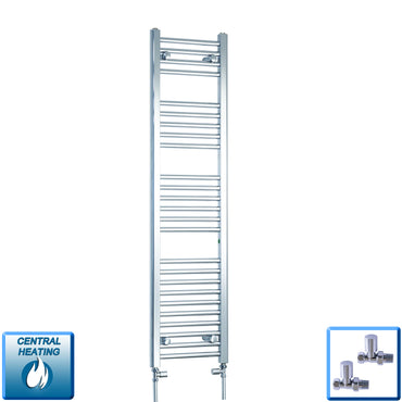 350mm Wide 1400mm High Chrome Towel Rail Radiator With Straight Valve