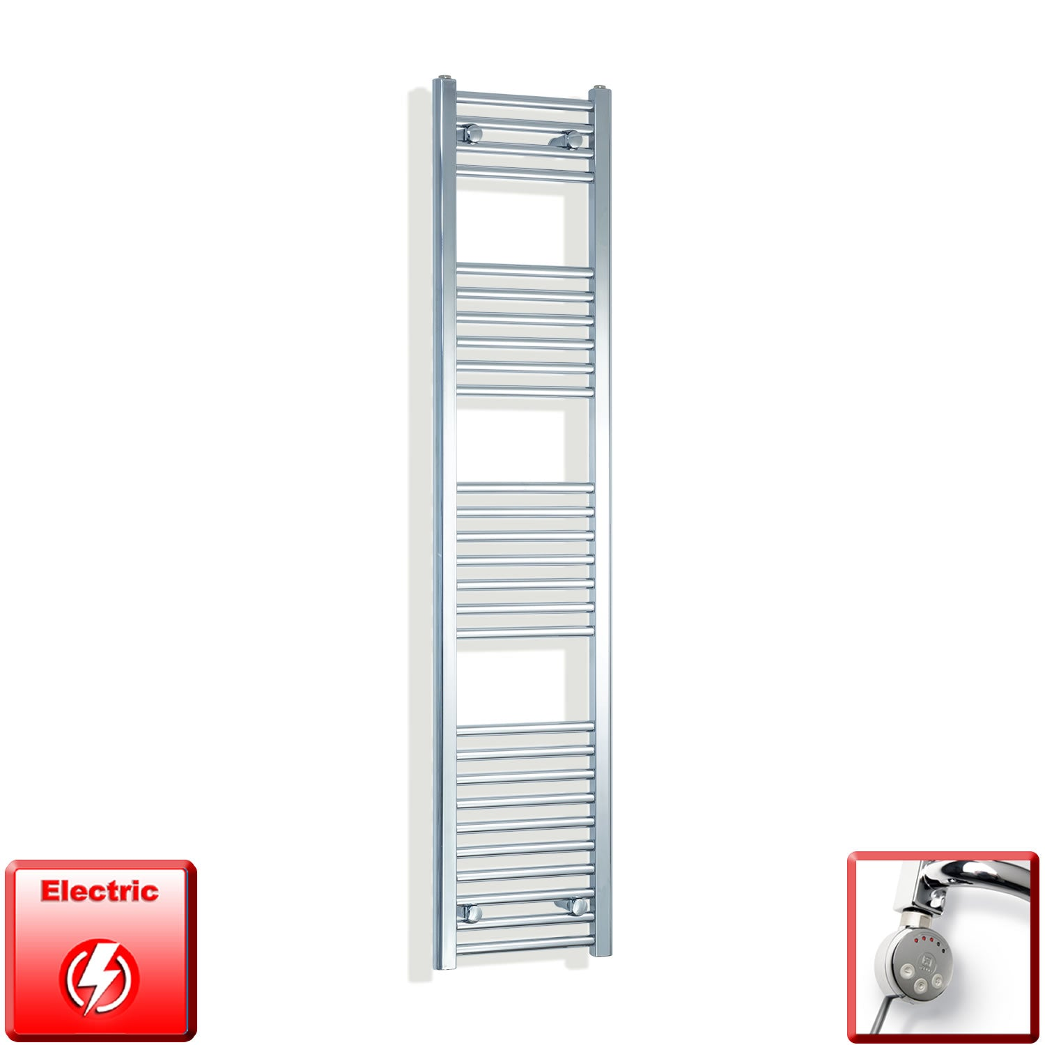 300mm Wide 1600mm High Pre-Filled Chrome Electric Towel Rail Radiator With Thermostatic MEG Element