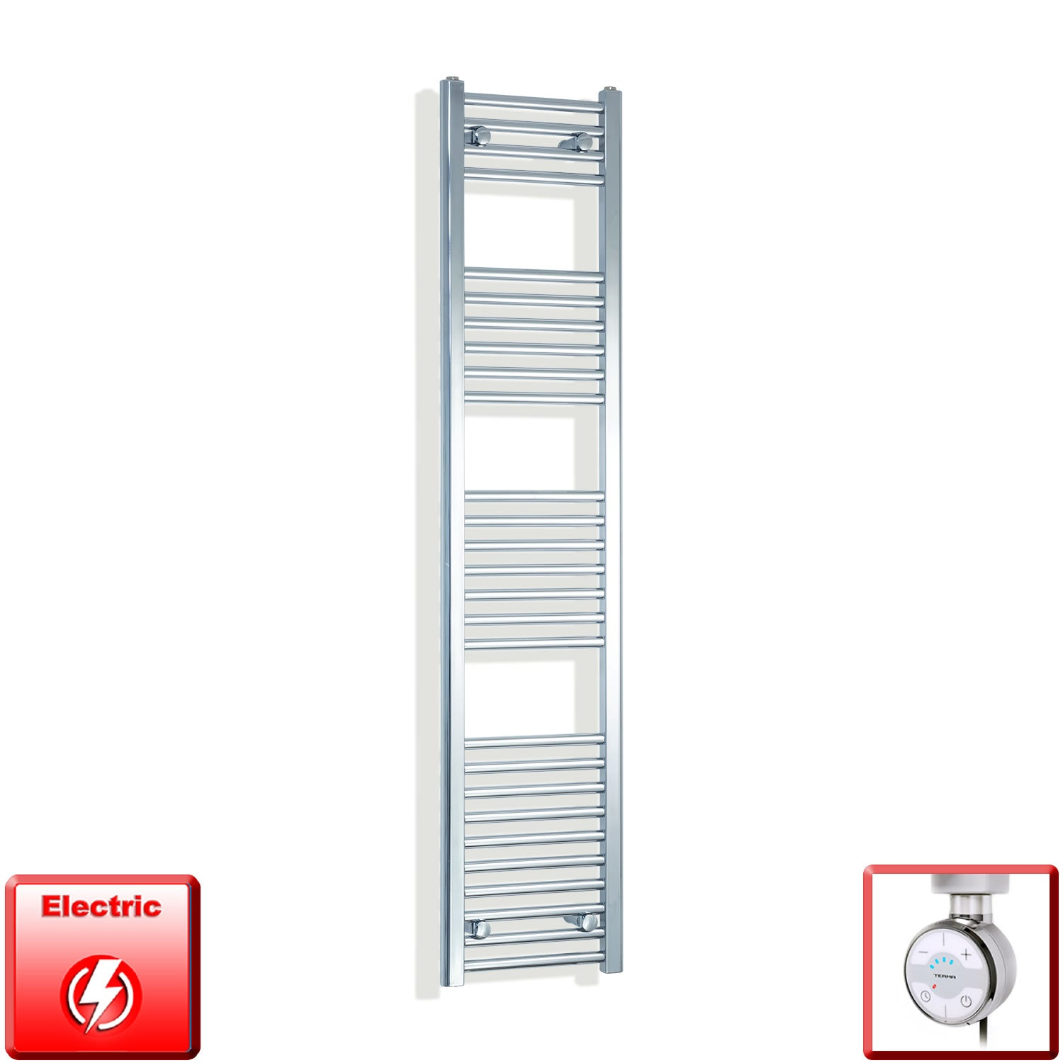 300mm Wide 1600mm High Pre-Filled Chrome Electric Towel Rail Radiator With Thermostatic MOA Element