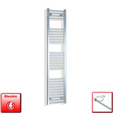 300mm Wide 1600mm High Pre-Filled Chrome Electric Towel Rail Radiator With Single Heat Element