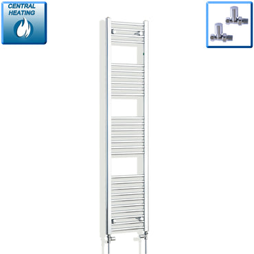 300mm Wide 1600mm High Chrome Towel Rail Radiator With Straight Valve