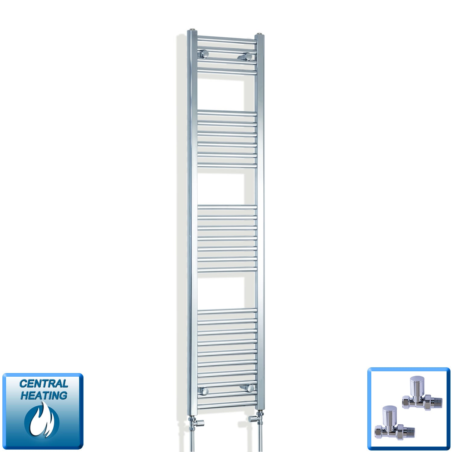 350mm Wide 1600mm High Chrome Towel Rail Radiator With Straight Valve