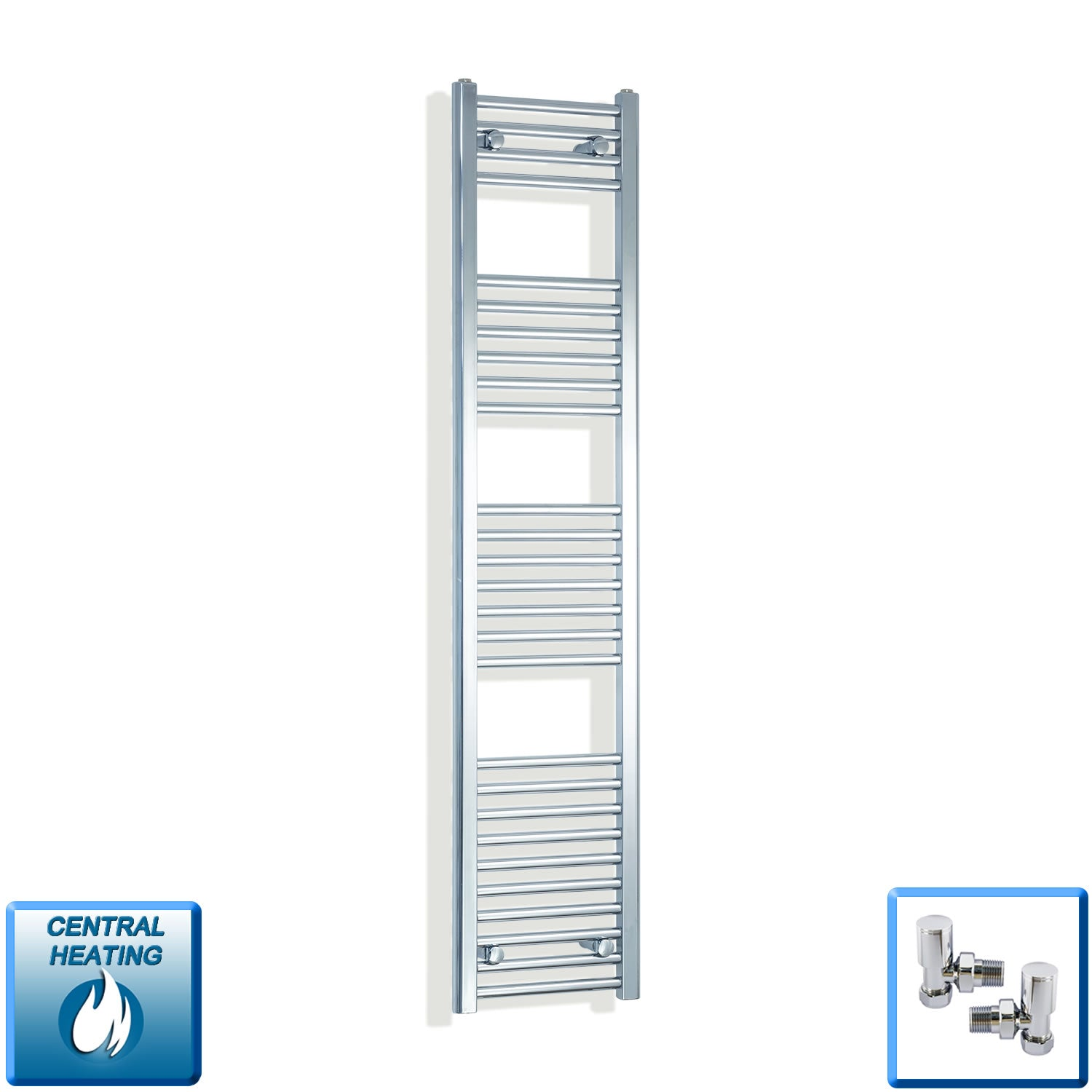 350mm Wide 1600mm High Chrome Towel Rail Radiator With Angled Valve