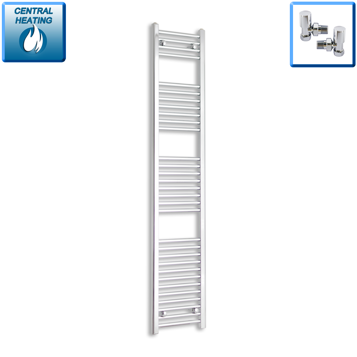 300mm Wide 1800mm High Chrome Towel Rail Radiator With Angled Valve