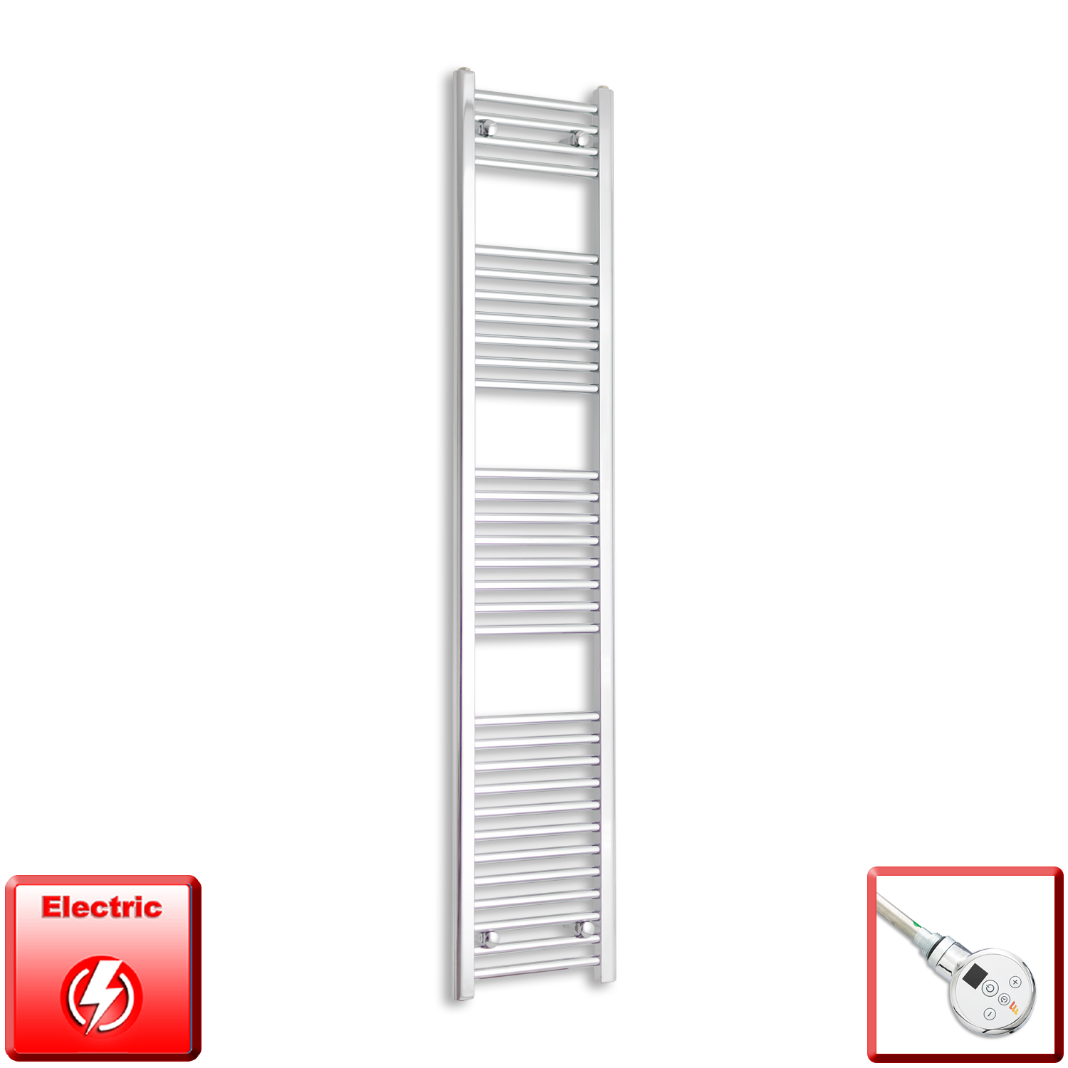 350mm Wide 1800mm High Pre-Filled Black Electric Towel Rail Radiator With Thermostatic DIGI Element
