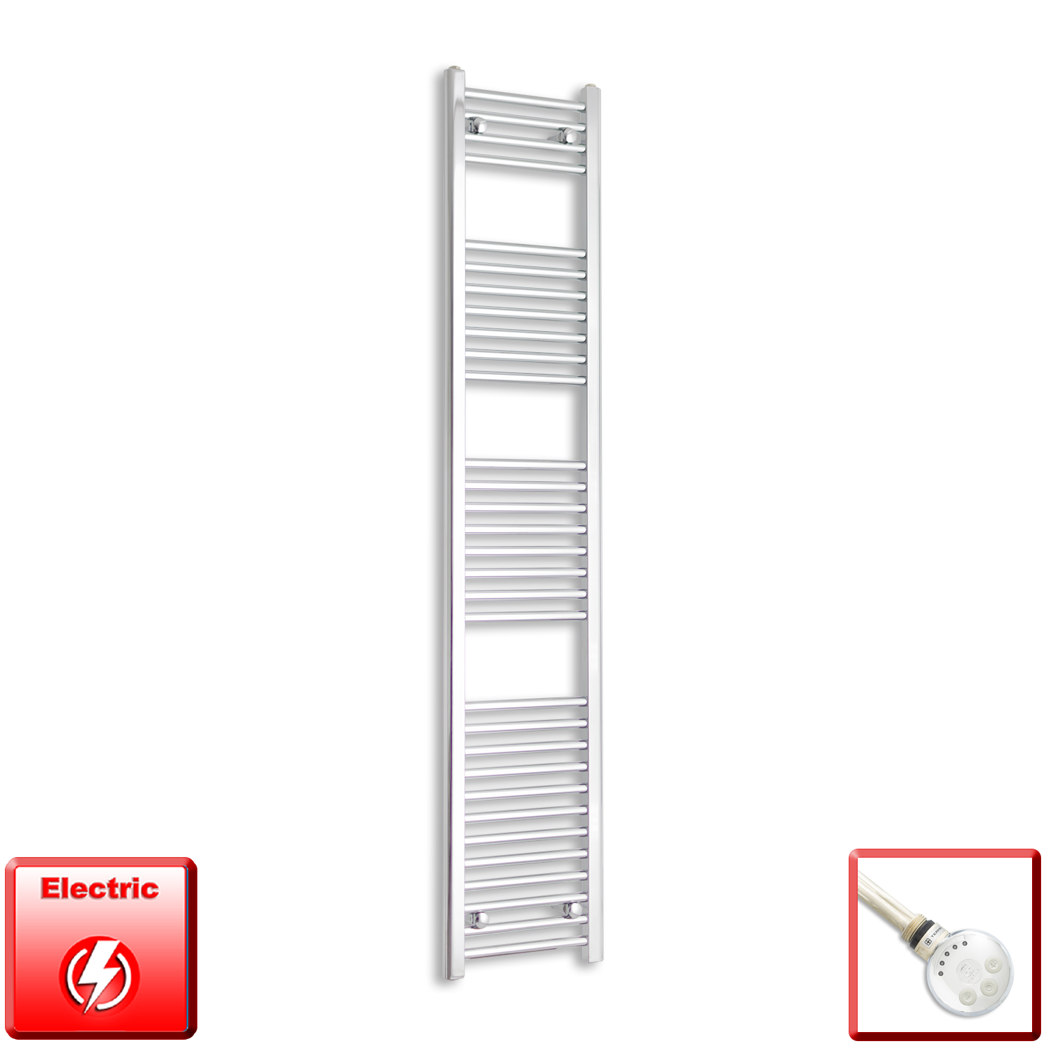 350mm Wide 1800mm High Pre-Filled Chrome Electric Towel Rail Radiator With Thermostatic MEG Element