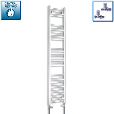 300mm Wide 1800mm High Chrome Towel Rail Radiator With Straight Valve