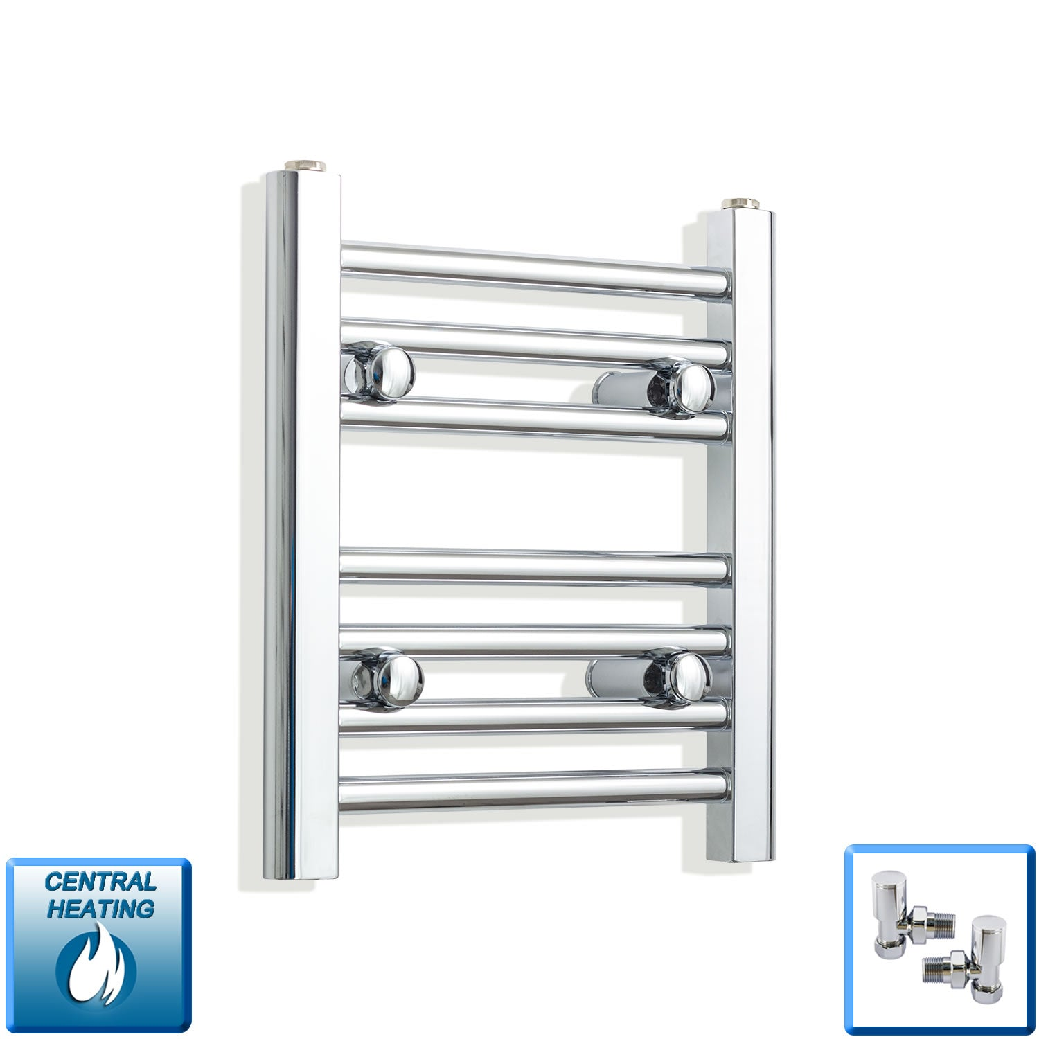 350mm Wide 400mm High Chrome Towel Rail Radiator With Angled Valve