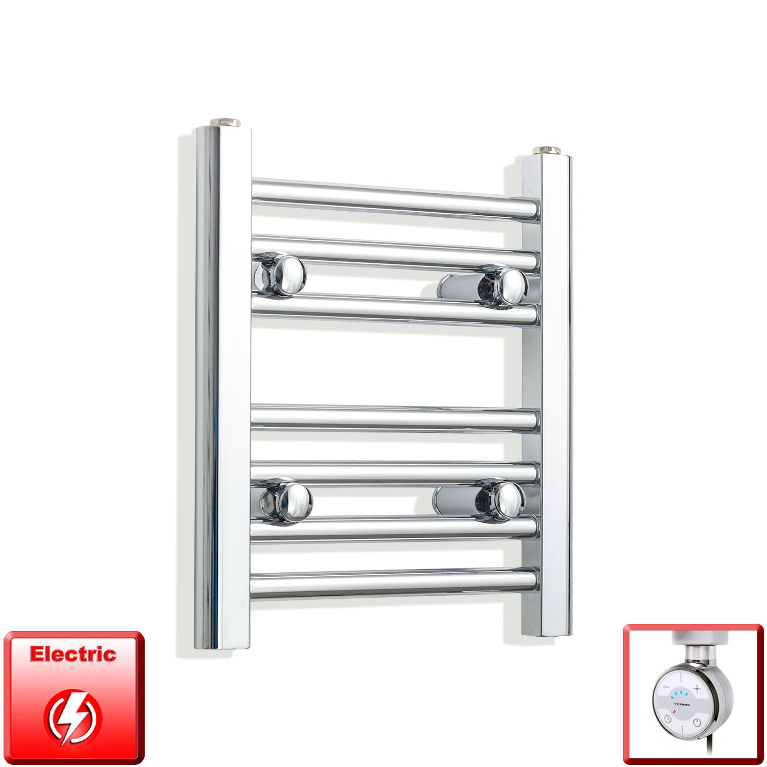 350mm Wide 400mm High Pre-Filled Chrome Electric Towel Rail Radiator With Thermostatic MOA Element