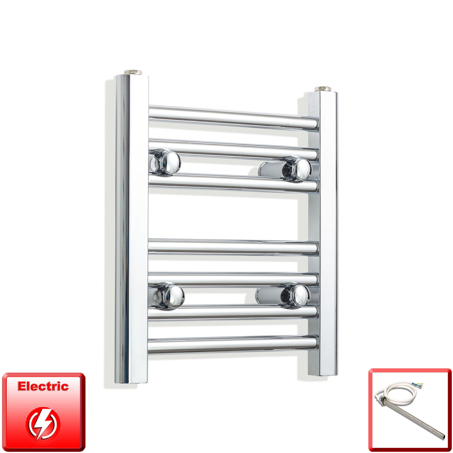 350mm Wide 400mm High Pre-Filled Chrome Electric Towel Rail Radiator With Single Heat Element