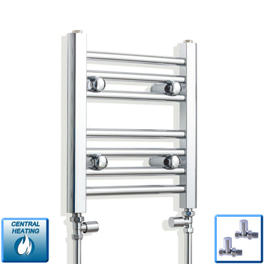 300mm Wide 400mm High Chrome Towel Rail Radiator With Straight Valve