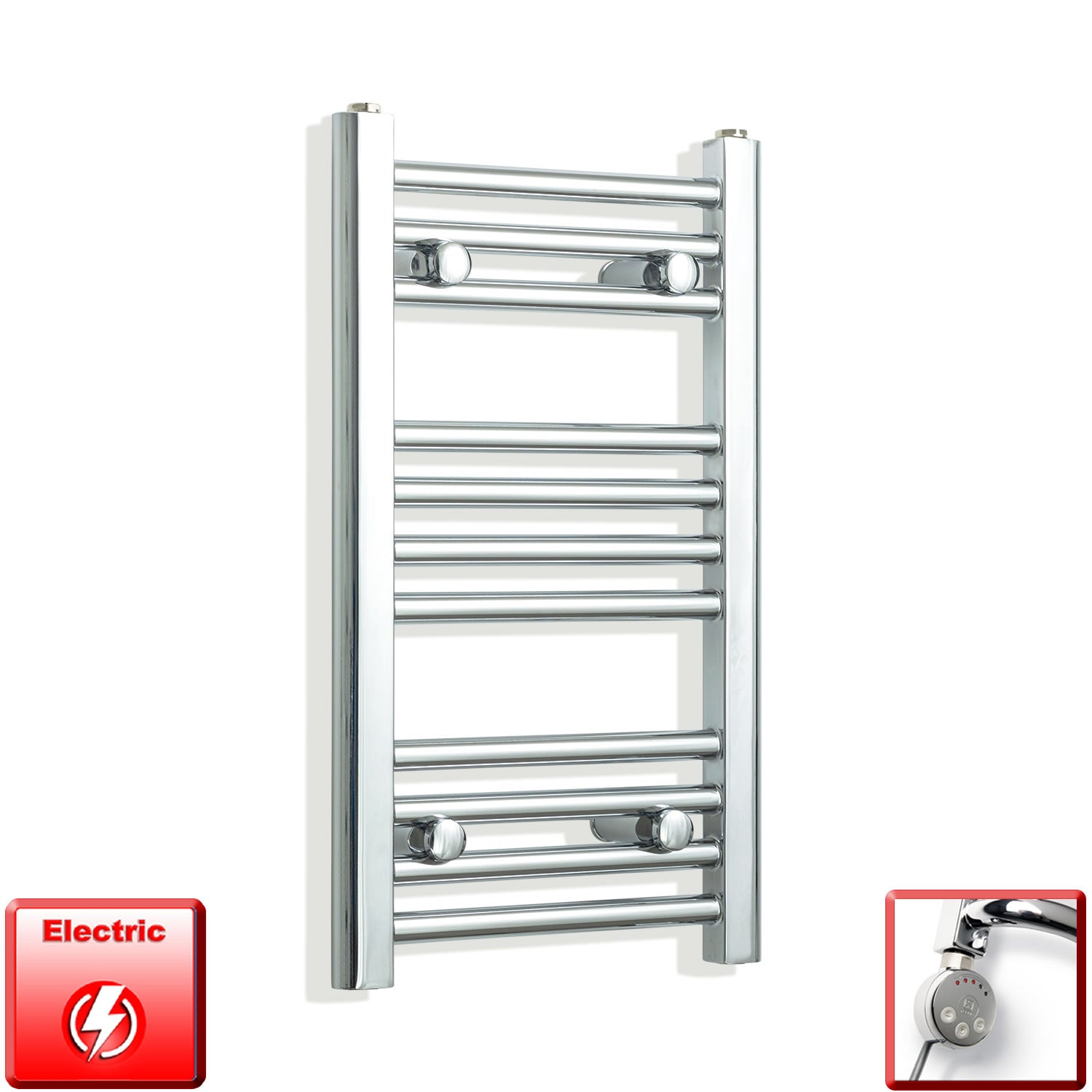 350mm Wide 600mm High Pre-Filled Chrome Electric Towel Rail Radiator With Thermostatic MEG Element