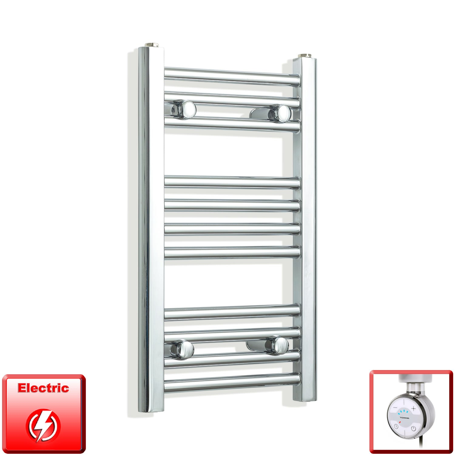 350mm Wide 600mm High Pre-Filled Chrome Electric Towel Rail Radiator With Thermostatic MOA Element