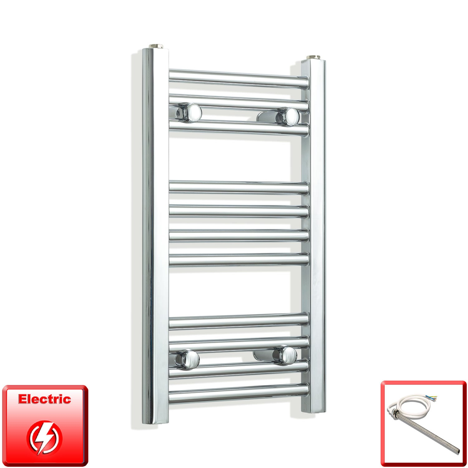 300mm Wide 600mm High Pre-Filled Chrome Electric Towel Rail Radiator With Single Heat Element