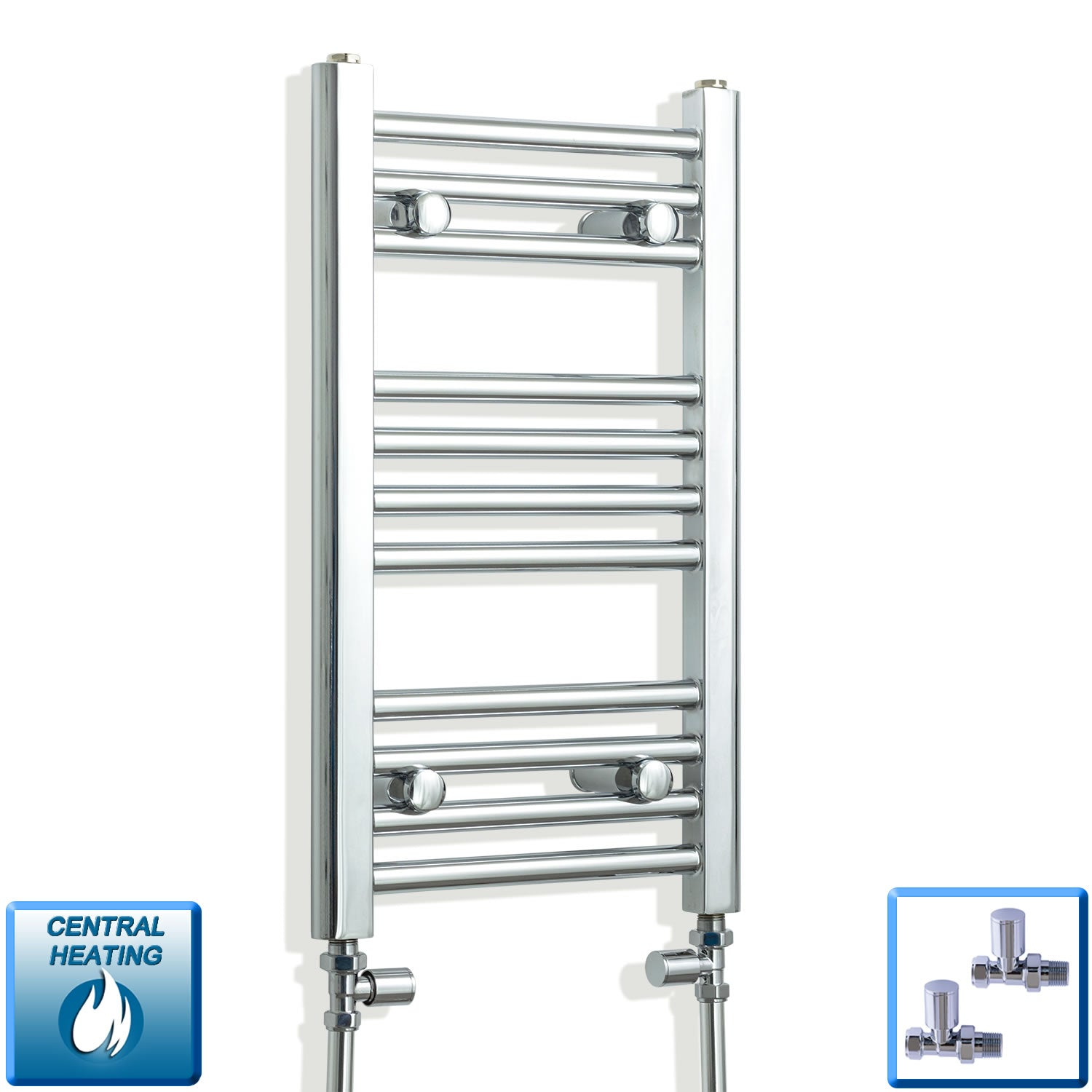 300mm Wide 600mm High Chrome Towel Rail Radiator With Straight Valve