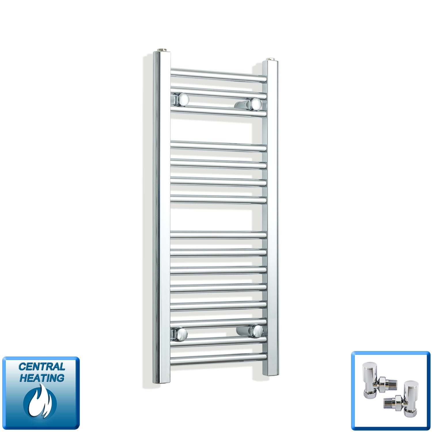 300mm Wide 800mm High Chrome Towel Rail Radiator With Angled Valve