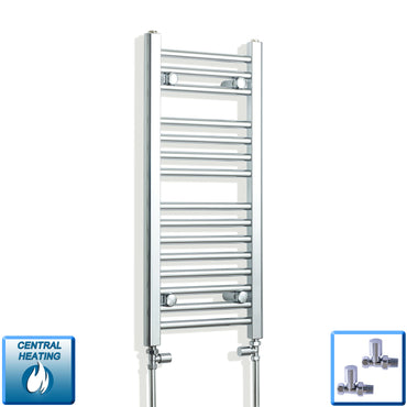 300mm Wide 800mm High Chrome Towel Rail Radiator With Straight Valve