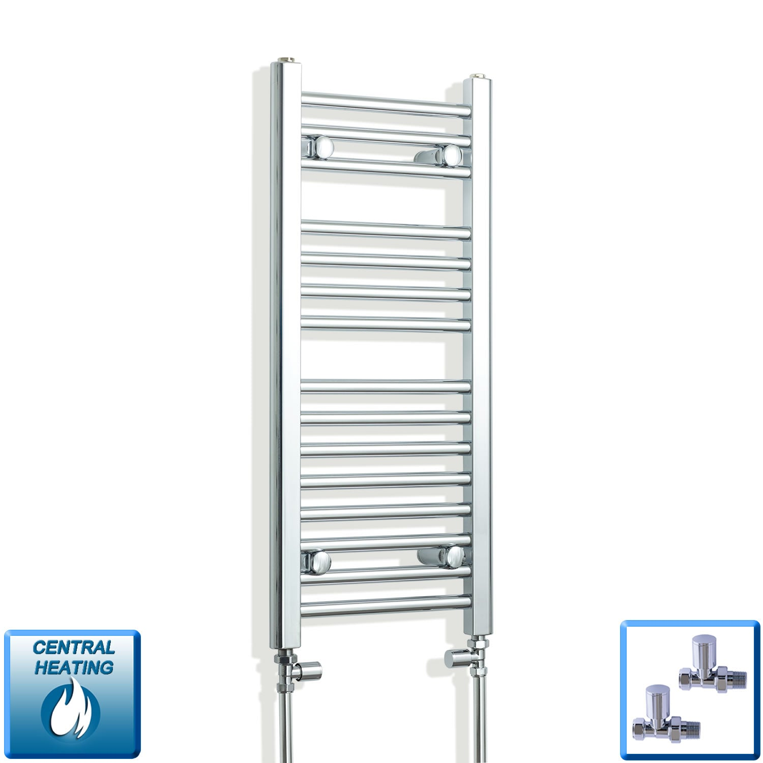 350mm Wide 800mm High Chrome Towel Rail Radiator With Straight Valve