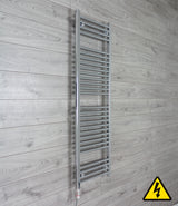 500mm Wide 1500mm High Pre-Filled Chrome Electric Towel Rail Radiator With Thermostatic GT Element